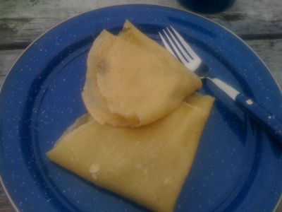 Feeding frenzy in camp ground caused by gluten free crepes with apples & bananas